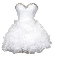 A-line Sweetheart Sleeveless Short/Mini Satin Organza  Wedding Dress With Applique Beading Free Shipping