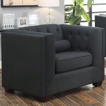 Transitional Linen Like Fabric & Wood Chair With Lumbar Pillows, Gray