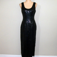 Vintage Formal Dress Size Medium Black Sequin Dress Maxi Sleeveless Evening Dress Party Dress FREE SHIPPING Size 8 10 Women Vintage Clothing