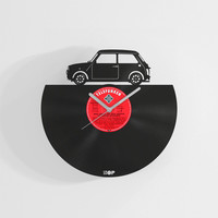 Classic Austin Mini inspired wall clock from upcycled vinyl record (LP), Handmade gift for Mini Rover fan, old school Mini garage wall decor