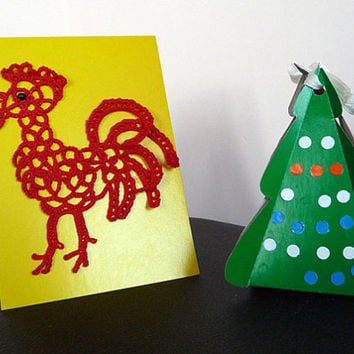 Red Rooster - home decor- fun gift - symbol of 2017 - Christmas gift