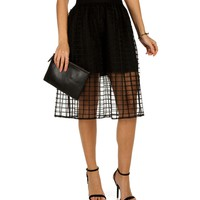 Sale-black Sheer Window Panel Midi Skirt