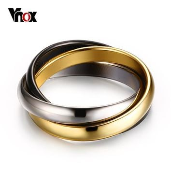 Classic Wedding Bands Rings For Women 3 in 1 Ring Sets Stainless Steel Cute Jewelry USA Size