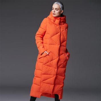 women's extra long parkas for women winter coat warm quilted down jackets luxury brands design thickened orange hooded black