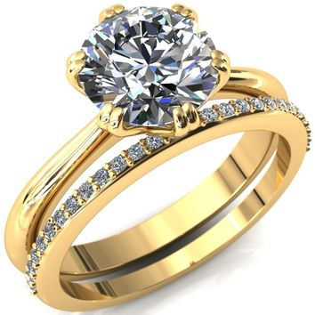Crossing Fire Round Moissanite 6 Double Prong Engagement Ring