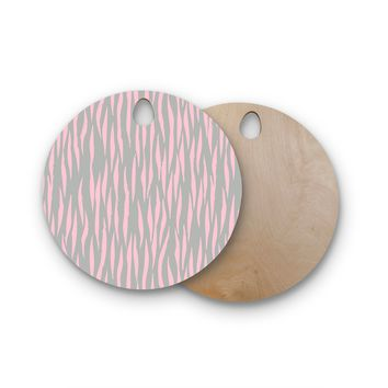 "Wildlife ""Pink Animal Print 12"" Gray Painting Round Wooden Cutting Board"