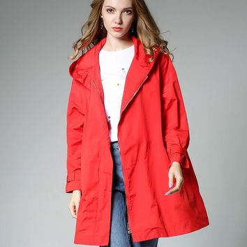 Autumn women fashion dress big size loose waterproof windbreaker outside coat casual hooded long sleeve  JIANRUYI
