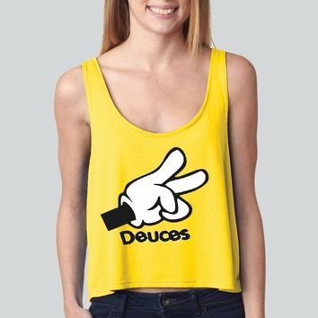 Deuces Mickey girly boxy tank top Funny and Music
