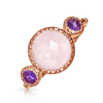 Brazilian Amethyst Rose Quartz Ring Hammered Band 925 Sterling Silver