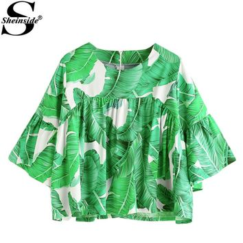 Palm Leaf Print Zipper Back Smock Blouse Sleeve Loose Shirt Women Green Blouse