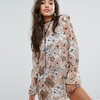 Missguided Oversized Floral Print Shift Dress at asos.com
