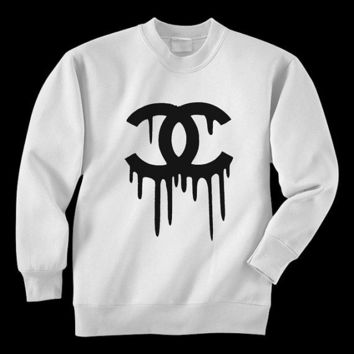 Bleeding logo white crew neck - XL - hand printed cotton polyester preshrunk