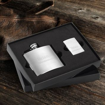 4 oz. Flask and Brushed Zippo Lighter Gift Set Free Engraving