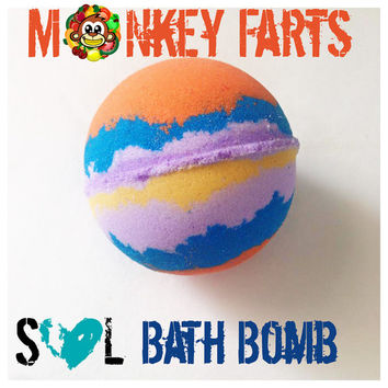 Monkey Farts Bath Bomb; Jumbo Bath Bombs, Fruity Bath Bombs, Big bath Bomb, 8 oz Bath Bomb, Colorful Bath Fizzy