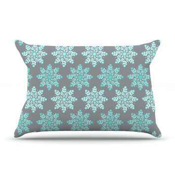 "Anchobee ""Blue Christmas"" Blue Gray Pillow Case"