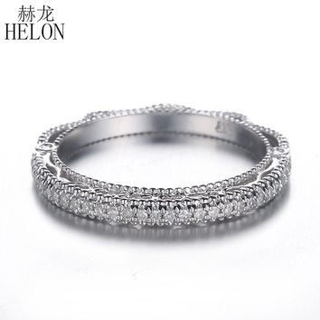 HELON FILIGREE VINTAGE BAND DIAMONDS FOR WOMEN'S RING ENGAGEMENT WEDDING MILGRAIN DIAMONDS RING SETTING SOLID 14K WHITE GOLD