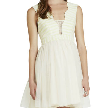 BCBGeneration - Lime Scalloped-Edge Dress