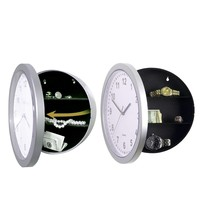 Wall Clock Diversion Safe Secret Stash Lock Box Tin