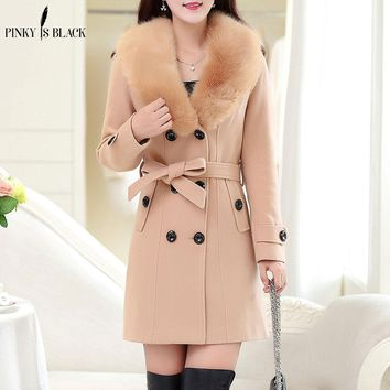 Pinky Is Black 2017 autumn winter women wool coat plus size double-breasted button medium-long ladies fur jackets and coats