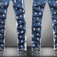 Blue Skinny Jeans with Skulls