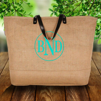 Natural Jute Large Tote Bag Purse  Personalized Beach Shopper Circle Monogogram Bride Bridesmaid wedding gift