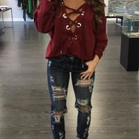 Sexy Deep V Neck Criss Cross Lace Up Long Sleeve Jumper Bottoming Women Shirt Tops