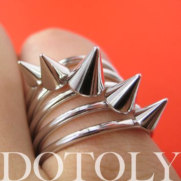 Spikes Studded Rocker Chic Ring Silver in Size 6 and 6.5