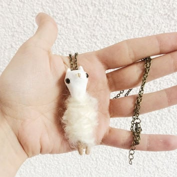 Alpaca Figurine Clay Figures Collectible Miniature Llama Totem Clay Jewelry Necklace Pastels Art Miniatures