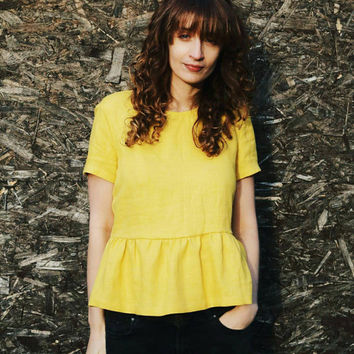 Linen Blouse - Yellow Linen Blouse - Women Blouse - Linen Blouse - Handmade by OFFON