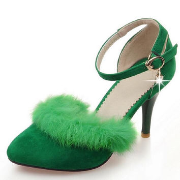 Fashion Women's Shoes Pointed Toe Rabbit Fur New High-Heeled Shoes Woman Pumps Wedding Shoes Green Grey Pink High Heels Suede