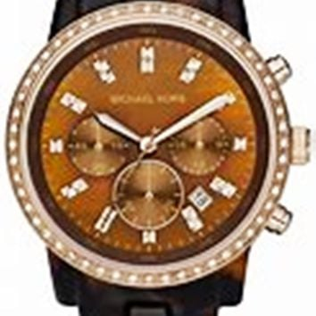 Michael Kors Women's MK5366 Showstopper Classic Chronograph Tortoise Watch