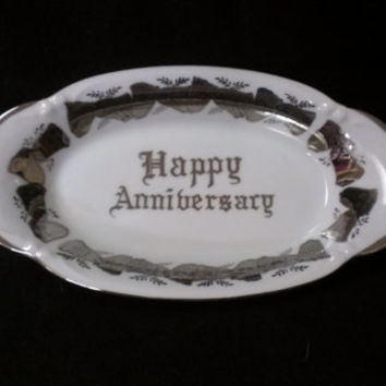 Norcrest Fine China under plate Silver and White, Happy Anniversary Platter  (433)