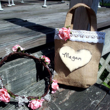 Rustic personalized flower girl burlap basket bag and flower crown set rustic wedding flower girl basket wedding accessories