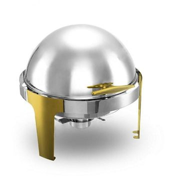 Hot Sale Stainless Steel Gold Flip Round Buffet Chafing Dish