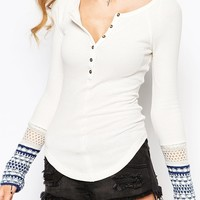 Free People Newbie Thermal Top with Aztec Print Cuff Detail