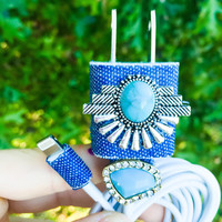 10FT Boho Denim Turquoise iphone 5 6 7 Charger