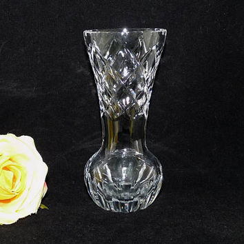 Small Glass Posy Vase, Diamond Pattern, Clear Glass Vase, Thumbprint Rim, Lead Crystal, Flower Arranging, Arrangement, arranging, homeware