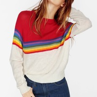 SKI LODGE MINI 70'S RAINBOW STRIPED SWEATER