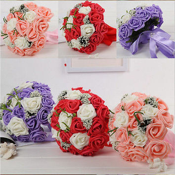 Handmade PE Roses Wedding Flowers Bridal Bouquets