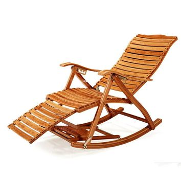 Free Shipping - Modern Fold-able Bamboo Recliner with Ottoman Indoor/Outdoor Rocking Chair