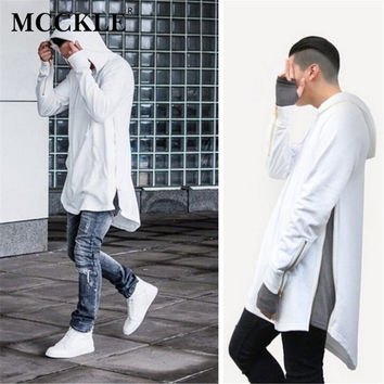 British Style Hi-Street Men Hooded Hip Hop Sweatshirts  Gold Side Zipper Fashion Men Extended Hoodie Arc Cut Long Hoodies