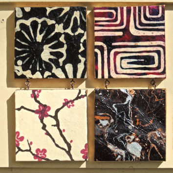 Four Matching Mini Canvases, Lokta Paper, Wall Art, Mini Canvas, Canvas Art, Small Canvas Art, Small Paintings, Decoupage Paper