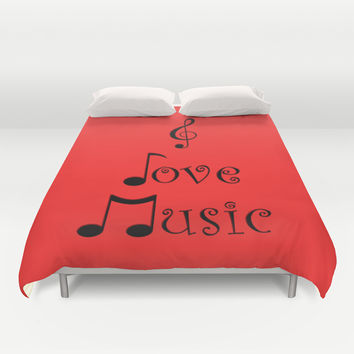 I Love Music - Retro Red Duvet Cover by Moonshine Paradise