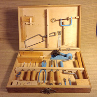 Vintage Woodworking Child's Tool Chest Kit - 20 piece set - Nice Usable Tools more than Toys. - Handy Andy - Made in Poland,