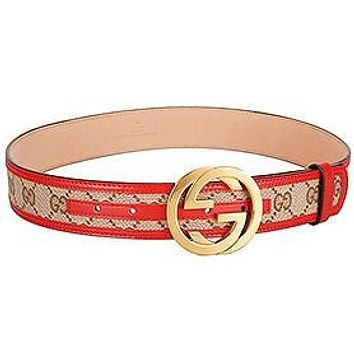 Gucci Red Leather Belt with Golden Interlocking G Buckle
