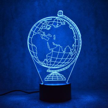 Earth Globe Map 3D LED Night Light Lamp