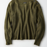 AE Button Shoulder Shaker Pullover, Olive