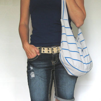 Beach Bag. Eco Fashion. Fabric Purse Upcycled Clothing. Hobo Bag Over Shoulder Purse. Light Gray with Blue Nautical Stripes. Ready to Ship.