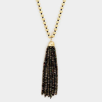 Gold & Black Glass bead tassel pendant long metal bead strand necklace