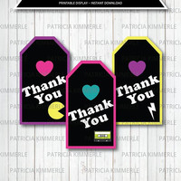 Printable, Thank You Tag, 80s kid,Retro, Rock, I love the 80s, 80s Party, 80s Theme, 80s Favors, Favor Tags, Thank You, Loot Bag Tag